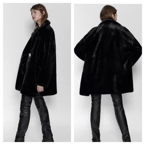 Zara Black Faux Fur Coat Medium